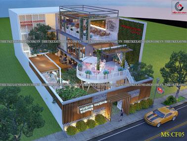 Thiết kế quán cafe đẹp 2 tầng