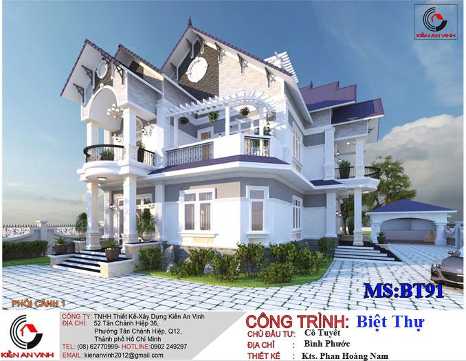 Mẫu biệt thự phố đẹp 2 tầng tại Bình Phước
