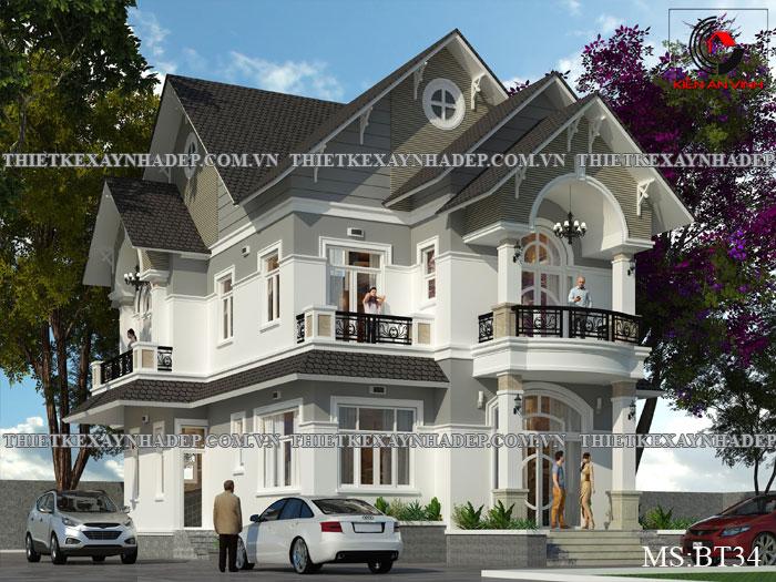 Kiến trúc biệt thự mini 2 tầng mái thái