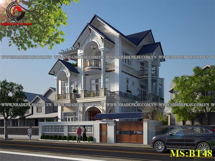 Thiết kế biệt thự đẹp 3 tầng mái thái đẹp