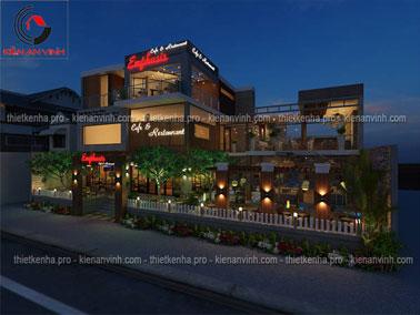 Mẫu thiết kế quán cafe kết hợp nhà hàng