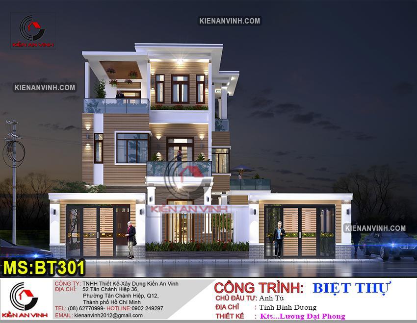 Thiết kế hiện đại kiến trúc biệt thự 3 tầng