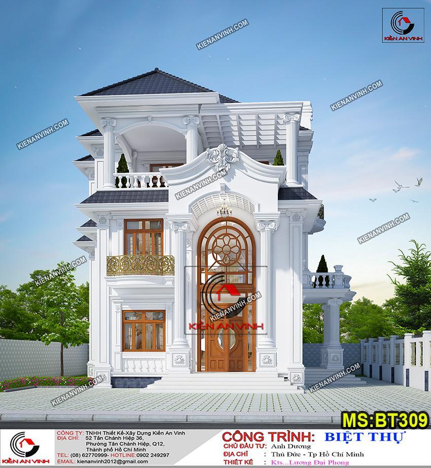ảnh Thiết Kế Biệt Thự Tân Cổ điển 2 Tầng 2 Mặt Tiền Bt309 - 5
